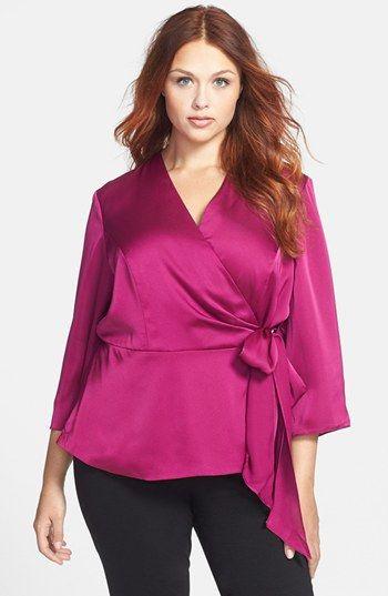 Alex Evenings Side Tie Wrap Blouse (Plus Size) | Nordstrom