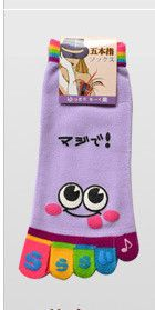 Wholesale Hot 2015 fashion cute cartoon candy color funny women's finger five toe socks for Girls calcetines meias feminina