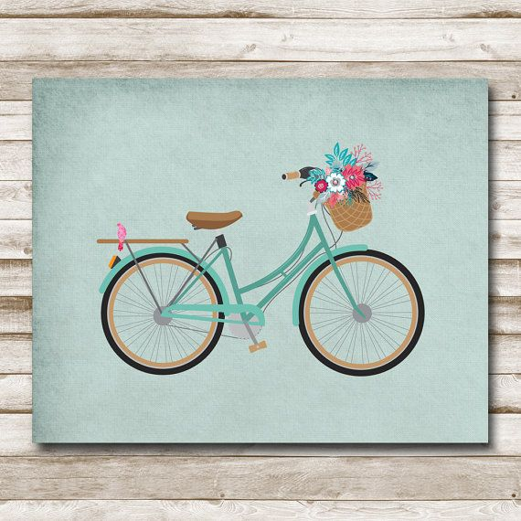 Vintage Bicycle Printable Home Decor 5x7 8x10 11x14 Green Aqua Pink Bicycle Art Bike Print Printable Art Photography Prop