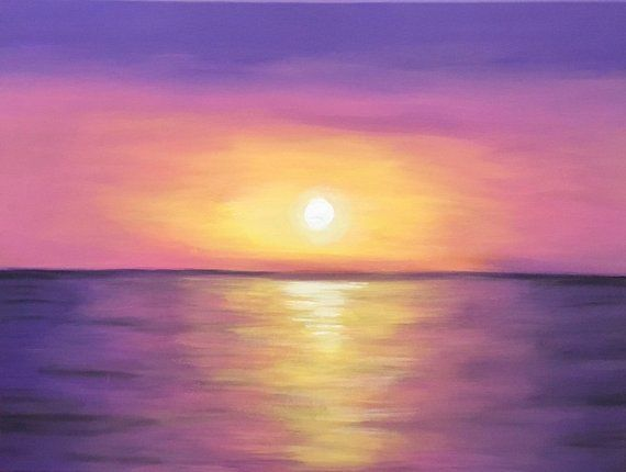 Purple Beach Sunset Glorious Colours Canvas Wall Art Picture