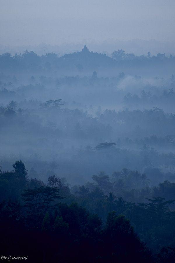 Sunrise fog in Borobudur Temple, Central Java, Indonesia