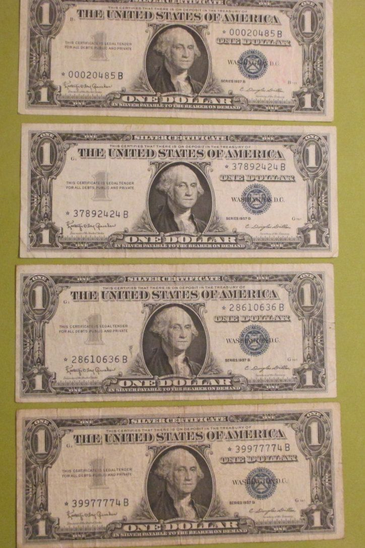Silver certificate on pinterest us currency bills coin silver certificates 1957 b blue seal star notes four one dollar bills these bills have been checked out at our bank and are authentic xflitez Images