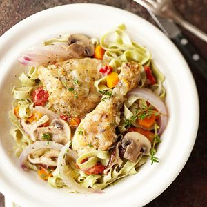 An herbed wine sauce makes this chicken-and-pasta dish a satisfying meal. Steamed green beans are the perfect accompaniment./