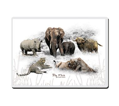 The Big 5 - Placemats | ORder online at NguniGalore.com - Delivery is FREE to anywhere in SA! | These placemats showcase Africa's iconic Big 5, in vibrant detail.  Set of 8.