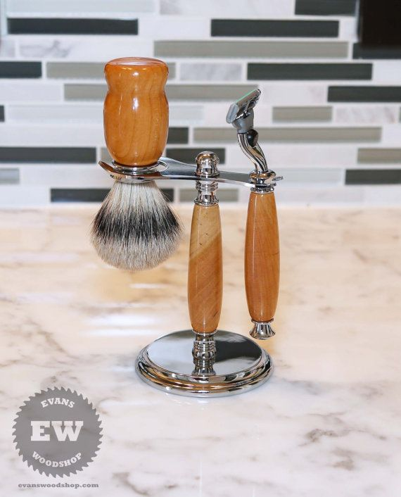 Beautiful handmade cherry wood shaving set/shaving kit. Whether you're new to wet shaving or just looking to upgrade, with this shaving set you'll be well on your way to the best shaving experience of your life.