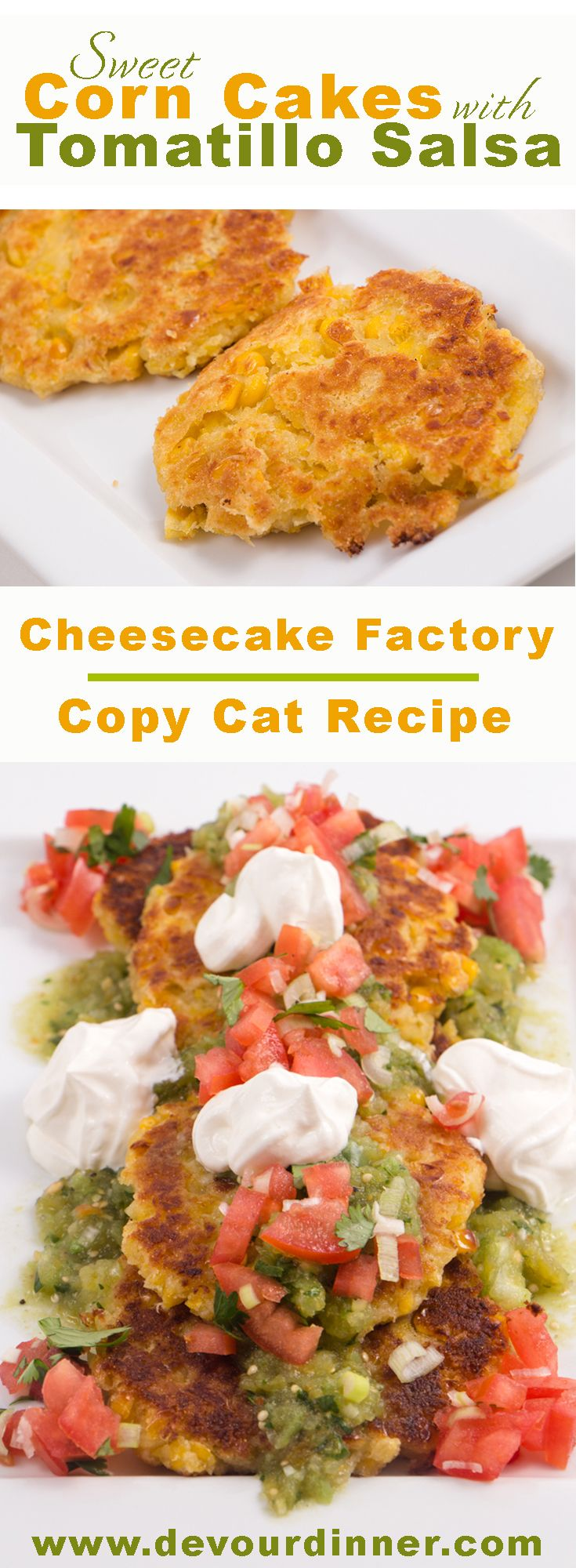 Sweet Corn Cakes | Cheesecake Factory Copy Cat Recipe - Devour Dinner.  Delicious and yummy full of flavor in these Sweet Corn Cakes.  Copy cat recipe from Cheesecake Factory.