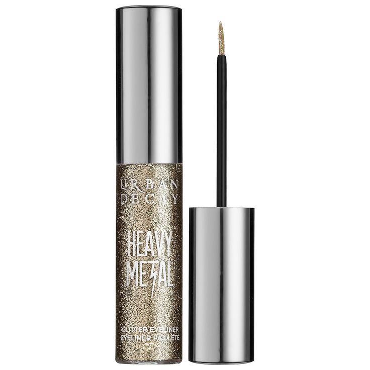 What it is: A buildable, water-based liner that contains superfine glitter in a clear base.  What it does: All the glitz of glam rock—without the spandex or bad hair—Urban Decay's Heavy Metal Glitter Eyeliner contains superfine glitter in