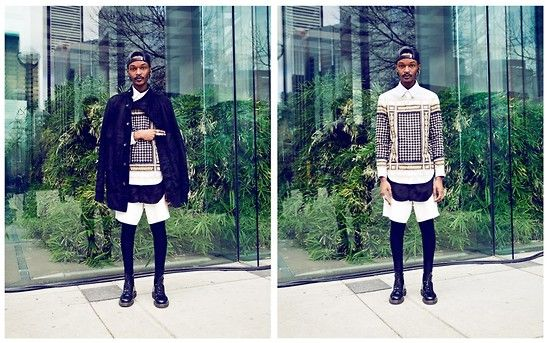 Get this look: http://lb.nu/look/4727521  More looks by Junior S: http://lb.nu/user/128921-Junior-S  Items in this look:  Gypsy Sport Darth Vader, Givenchy Horn Earrings And Bullring, Givenchy Ss10 Egyptian Print, Asos Black Long Shirt, Travis Taddeo White Japanese Plonge Leather Shorts, Dr. Martens Patent Leather Black, Rick Owens Black Coat