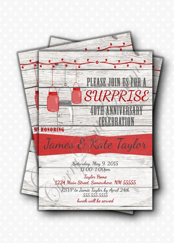 Rustic Mason Jar Anniversary Party Invitation   Red and Gray Rustic Wooden Invite. Surprise Anniversary Pdf.