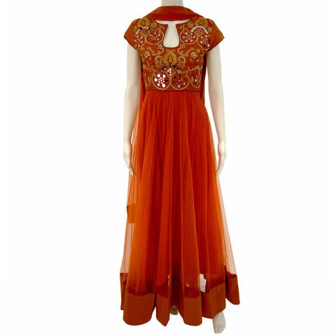 Rust orange mirror work anarkali  - FREE DELIVERY on the latest Asian Designer Fashion Couture lenghas, sarees, churidars, gowns and more!