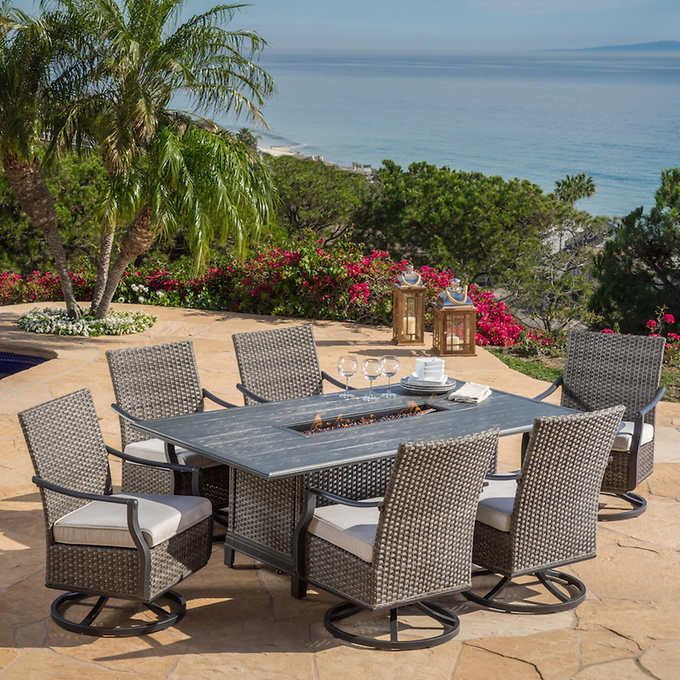 Lago Brisa 7-piece Rectangle Fire Dining Set