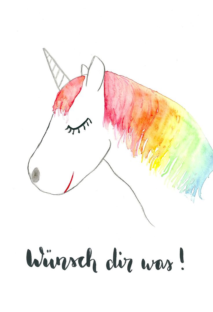 Einhorn Printable Aquarell download - Wünsch dir was