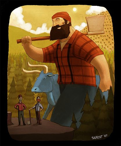 paul bunyan and babe the blue ox, legendary american lumberjack and his trusty friend