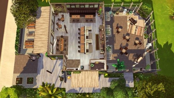 Jenba Sims Solcaf Cafe Sims House Sims 4 House Design Sims 4