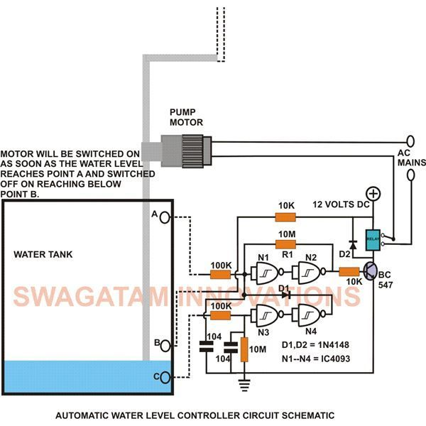 This low cost water level controller circuit when built and installed will very efficiently control the level of water inside any water tank to which it's attached. Thus it can help in saving electricity and water, as well as relieving you from the headache of manually switching the water pump motor.