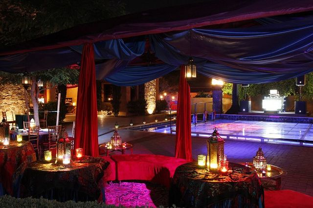 Moroccan and Arabian night themed party decorations. Lighting ideas. Night time lights., via Flickr.