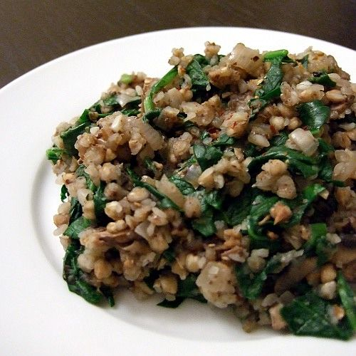 Buckwheat Risotto with Spinach and Mushrooms  gluten-free, dairy-free, plant-based, vegan, vegetarian, soy-free