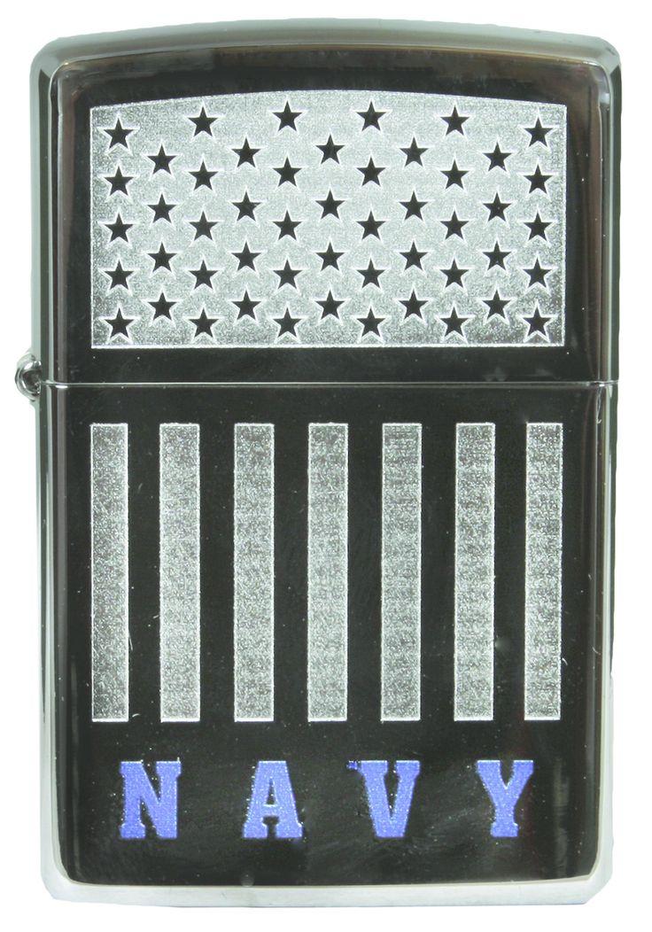 ZIPPO USA FLAG NAVY - HIGH POLISH CHROME