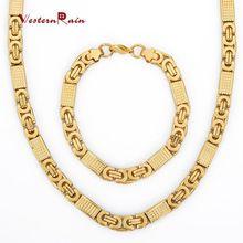WesternRain Новое Прибытие Высочайшее Качество Дубайская Золото Ювелирные Изделия мужская Ожерелье И Браслет Из Нержавеющей Стали Ювелирные Наборы F5605(China (Mainland))
