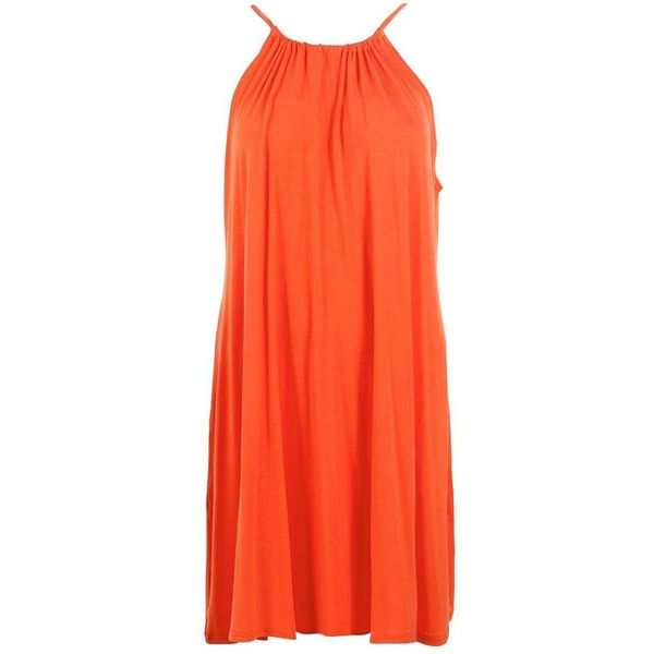 Boohoo Callie Tie Neck Swing Dress ($11) ❤ liked on Polyvore featuring dresses, skater dresses, midi skater dress, maxi dresses, jersey maxi dresses and orange maxi dress