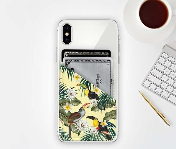 Toucan Credit Card Holder for Phone, Vegan Leather, Wallet, Cell Phone Pocket, ID Holder Tropical Exotic Summer