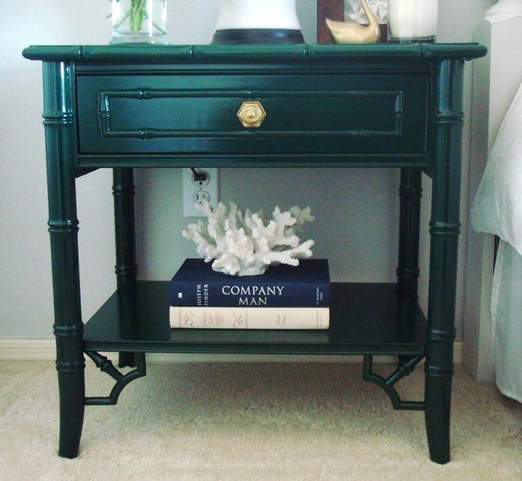 Emerald Green Nightstands by Sarah Elizabeth Design. A color like this would never occur to me, but I like it