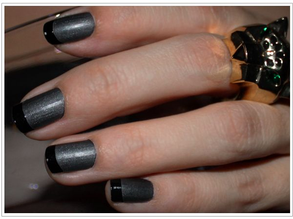 gray and black: Manicures Mondays, Matte Nails, Black French, Nails Art, Nail Polish, French Manicures, Spring Nails, Black Nails, French Tips