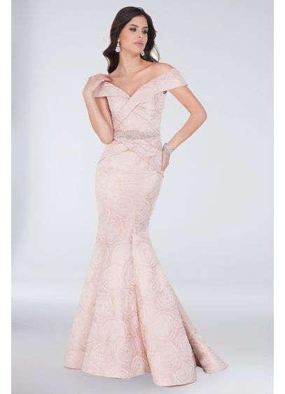 dc073d7bf24 Long Mermaid  Trumpet Off the Shoulder Formal Dresses Dress - Terani Couture  Blush Champagne Wedding