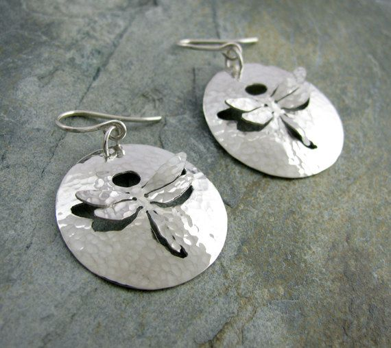 Small Sterling Silver Dragonfly Earrings  hammered by AmityJewelry, $65.00