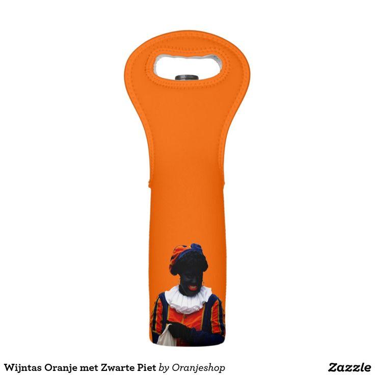 Wijntas Oranje met Zwarte Piet Wine Bags