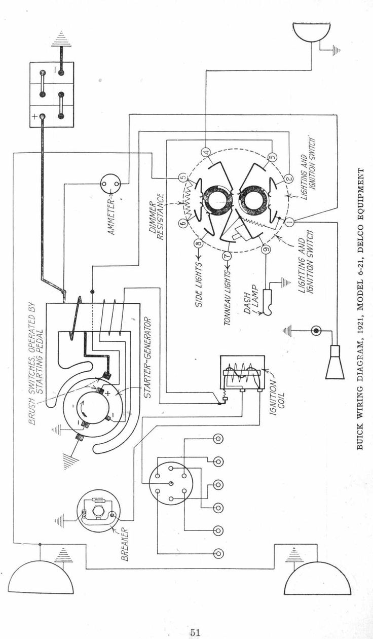 wiring diagrams of 1921 buick model 6 21 delco equipment