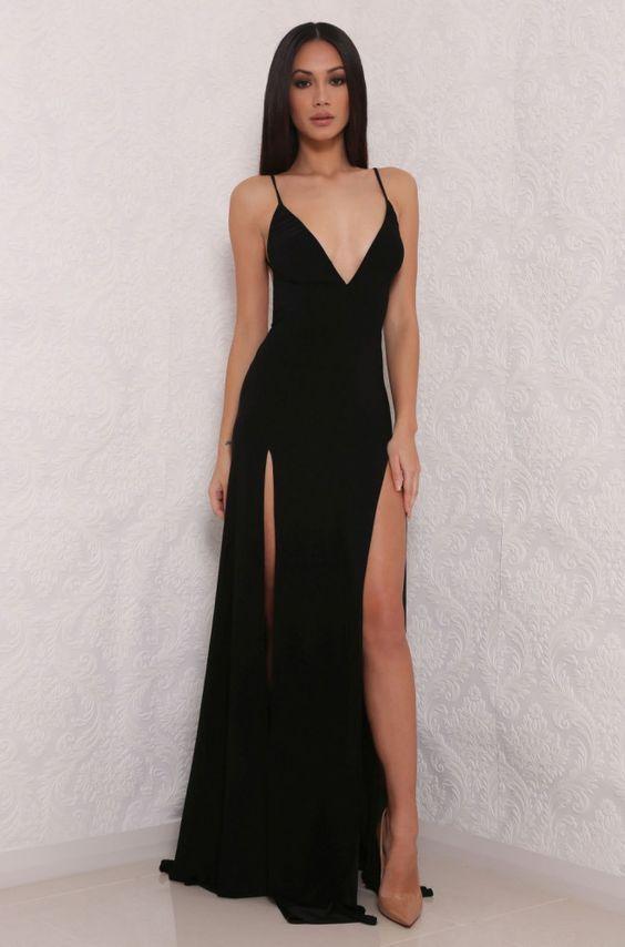 Black Prom Dresses,hot sexy spaghetti straps prom dress,split