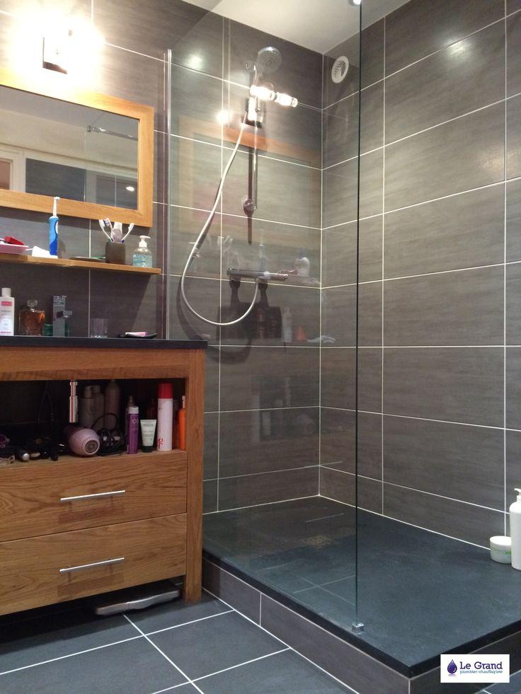 29 best carrelage images on Pinterest - salle de bain gris et bleu