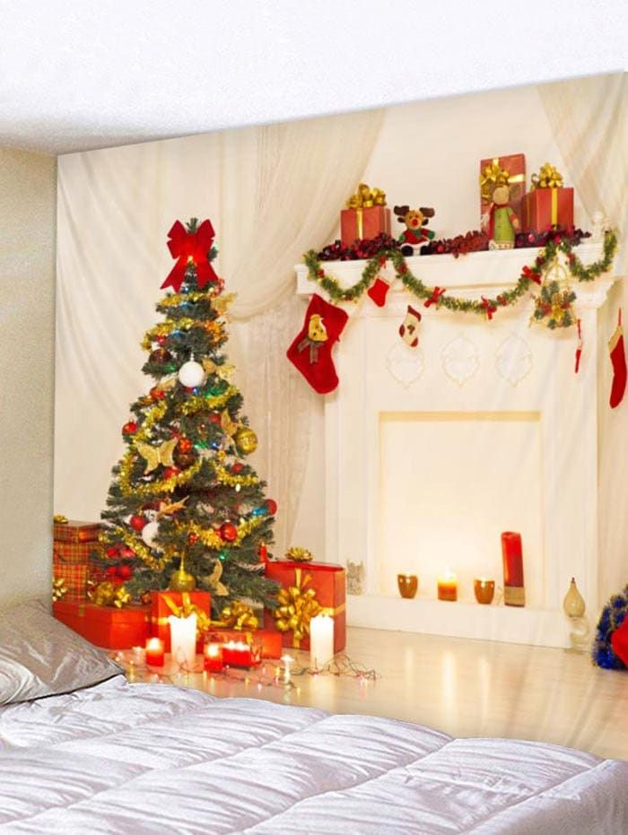 3229ba393f8 Christmas Tree Stocking Print Tapestry Art Decoration -