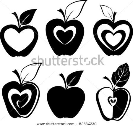 stock vector : Set of various apple silhouettes icons vector illustration