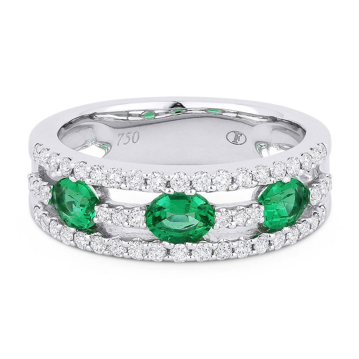 1.10ct Oval Cut Emerald & Round Diamond Anniversary Ring / Wedding Band in 18k White Gold - AlfredAndVincent.com