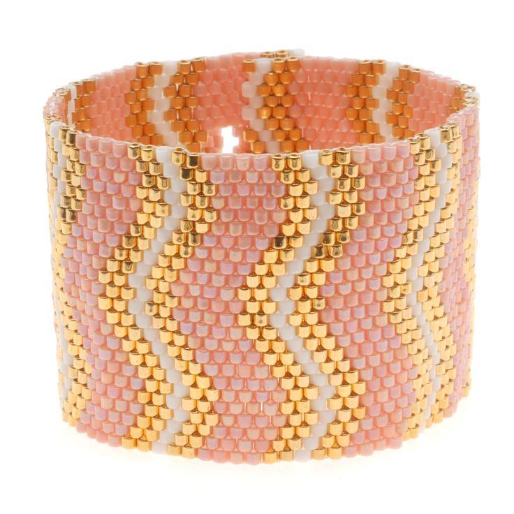 Coral Wave Peyote Bracelet - Beadaholique.com 8gm DBM0031, 8gm DBM0200, 16gm DBM0207 (Opaque Salmon AB Pink, 24K gold plated, Opaque Chalk White)