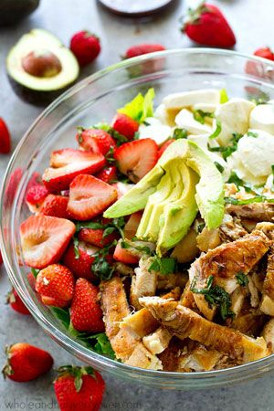 Balsamic Grilled Chicken Strawberry Caprese Salad