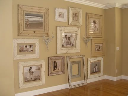 I'd like to take the family photo wall, make sepia-toned or b & w prints, and do this with them in the family room.