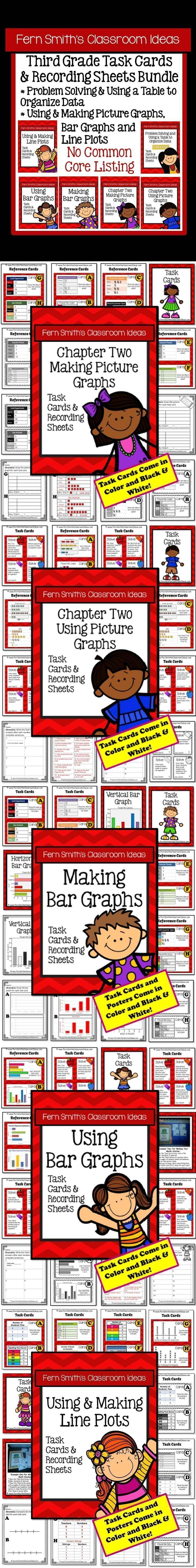 Task Cards and Answer Sheets Bundle for Third Grade - Tables, Picture Graphs, Bar Graphs and Line Plots with No Common Core Listings An Additional Resource for Third Grade, Go Math, Chapter Two, Graphing #TPT $Paid #NoCommonCore