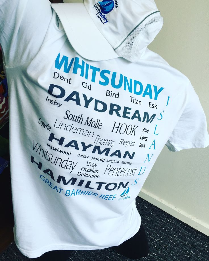 Whitsunday Islands captured on a tee shirt for sailors and everyone nautical. Order online or get one in store at GrottyYachtyClothing Airlie Beach
