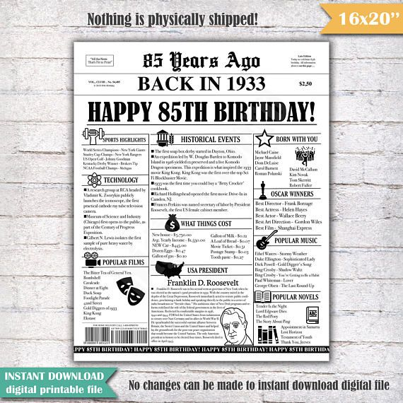 85th Birthday Newspaper Poster Sign 85 Years Ago Back in 1933