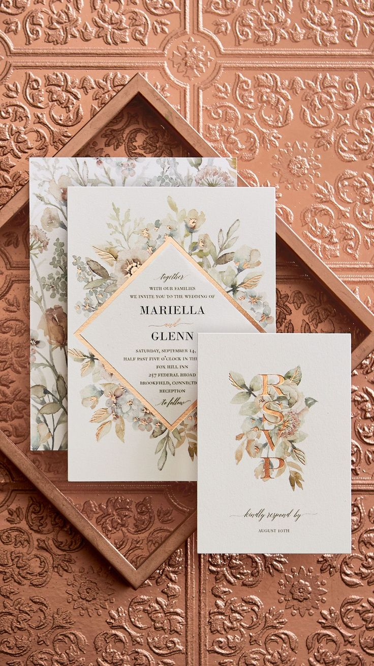 Wedding Invitations with copper foil. Introducing