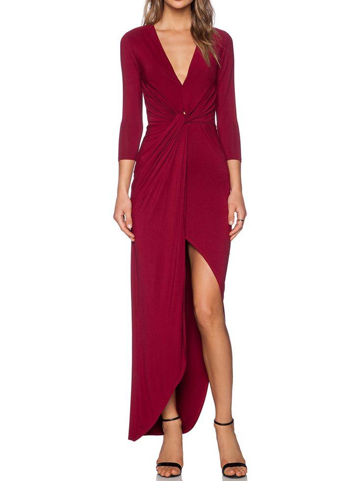 Wine Red V Neck Slim Asymmetrical Dress -SheIn(abaday)