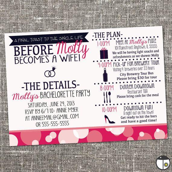 25 best ideas about Bachelorette party invitations – Customizable Bachelorette Party Invitations