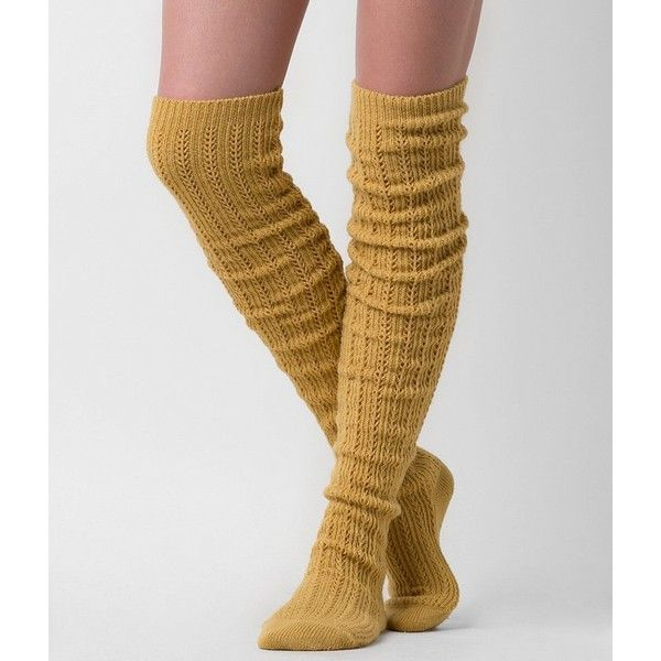 Women's Cable Knit Socks in Yellow by Daytrip. ($6.78) ❤ liked on Polyvore featuring intimates, hosiery, socks, yellow, over knee socks, slouch socks, cable knit socks, slouchy socks and overknee socks