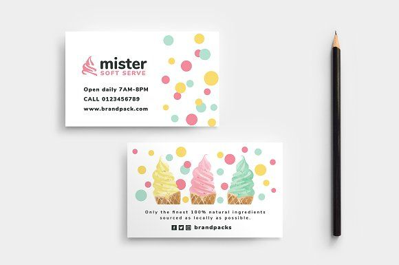 Ice Cream Shop Business Card Business Cards Layout Business Card Layout Design Ice Cream Business