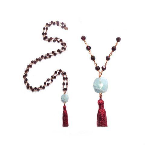 H16 - Regenerating | Garnet, Aquamarine, Copper wire, 69cm, 15.7gr | Anna Michielan for Oishii Jewelry #garnet #aquamarine #copperwire #babyjoy #collection #annamichielan #oishii #healing #jewelry #forthesoul #natural #remedies #mala #necklace #baby #accessories #crystal #stone #gem #mineral #boho