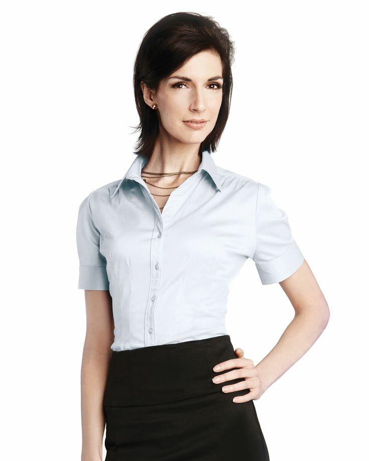 V-Neck Spandex Short Sleeve Woven Shirt.  Tri mountain LB755