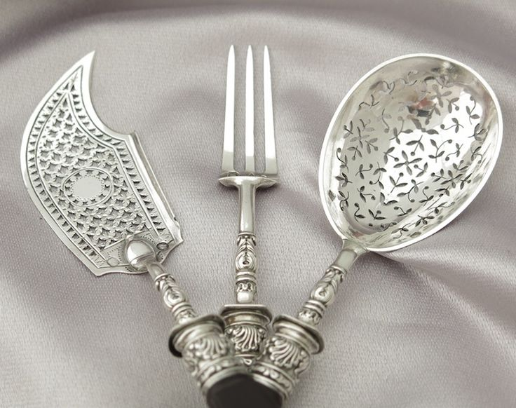 Early 19C Antique French Sterling Silver Dessert Serving Set 3pc by from wrfineartantiques on Ruby Lane